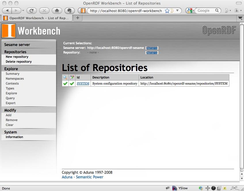 Setup rdf4j or sesame console repository.